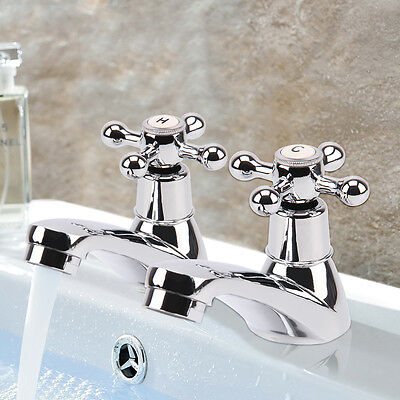 Twin Hot & Cold Tap Traditional Bath Bathroom Basin and Sink Chrome Brass 2 Taps