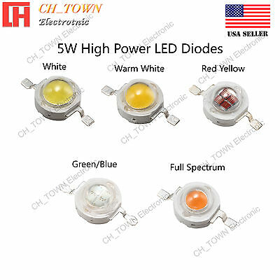 5W watts High Power SMD LED Chip Lamp Beads White Red Blue Green RGB UV Light