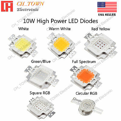 10W watts High Power SMD LED Chip Lamp Beads White Red Blue Green RGB UV Light