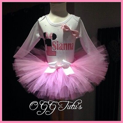Baby girl 1st Birthday cakesmash Minnie Mouse Personalised pink tutu set