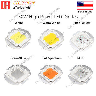 High Power 50W watts SMD LED Chip COB Lamp White Red Blue Green UV Lights Board