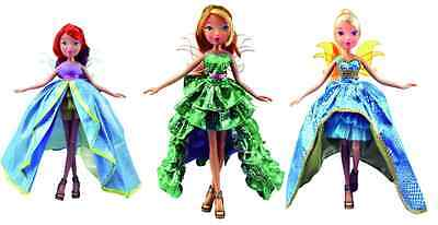 Set Of 3 Winx Club Princess Magic Doll Flora Stella Bloom New In Original Box