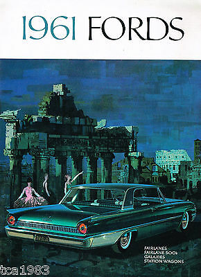 1961 FORD Brochure / Pamphlet : FAIRLANE 500,GALAXIE,SUNLINER,390,Station Wagon,