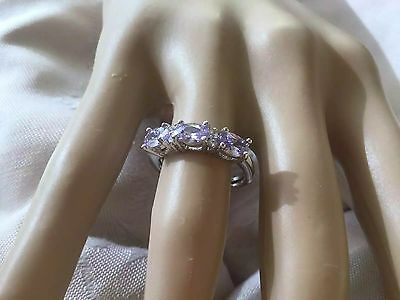 Antique Vintage Sterling Silver Ring with Amethyst stones Ring size 7 or O