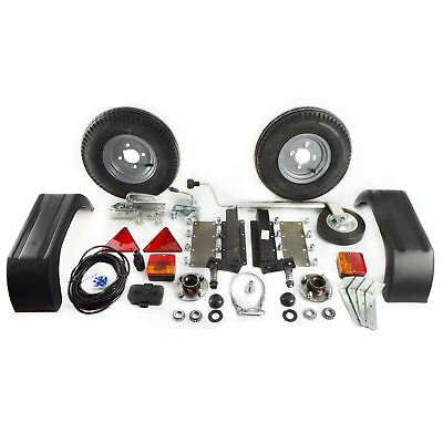 500Kg Trailer Kit Suspension Units Hitch Lights Mudguards Towing 5m Cable Whee