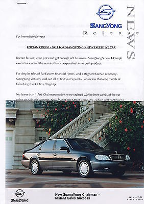 SsangYong Chairman Executive Car Press Release/Photographs/Slides - 1998
