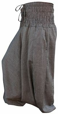 Unisex Plain Hippie Harem Aladdin Baggy Loose Fit Genie Gypsy Goth Trouser Pants