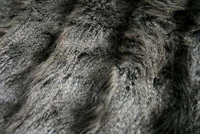 Super Luxury Faux Fur Fabric Material - GREY WOLF