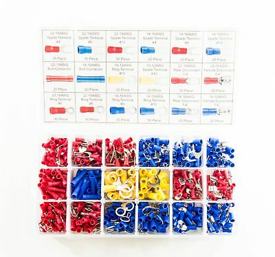 520 Piece Electrical Terminal Assortment - Includes Spade, Ring, Butt, M and F