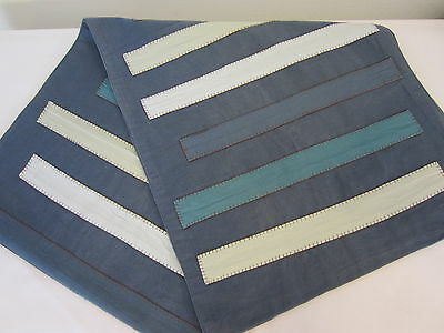 IKEA Denim Blue Appliqued Stripes Cotton Table RUNNER 72 In Long
