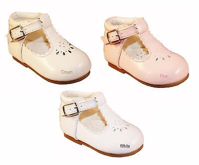 New Girls Infant Sevva First Pram/walking Patent Leather Shoes All Colours 2-6
