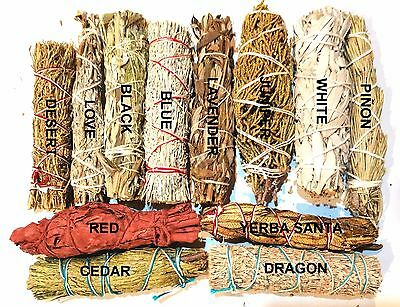 SET of 12 Sage Smudge Stick SAMPLER Blue, Red, White, Black Pinon Cedar Lavender