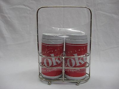 """Coca Cola """"Ice Cold"""" Salt and Pepper Shaker w/ Holder - OFFICIAL PRODUCT"""