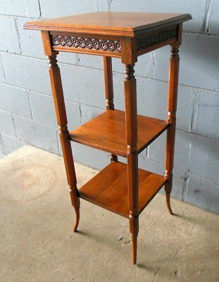 Antique Aesthetic Movement Victorian Plant Stand Shelf Regency Style Walnut
