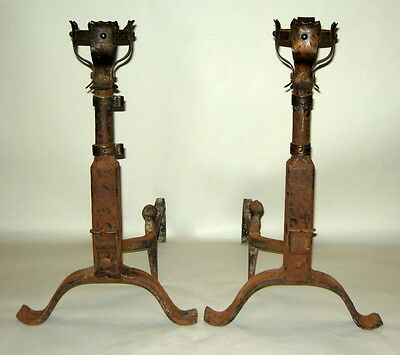 Tall Antique French Chateau Wrought Forged Iron Gothic Andirons w Basket Tops