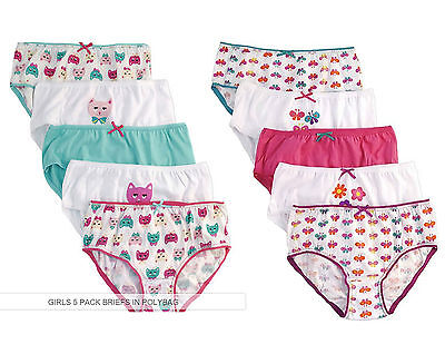Girls 5 Pack Pairs Briefs Set Knickers Kids Multipack 100% Cotton Underwear Size