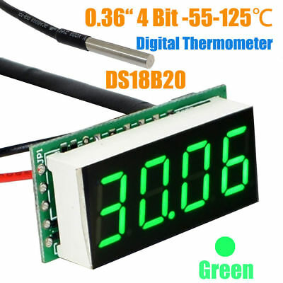 -55 to 125 °C 4 Bit 0.36 Inch Digital Thermometer with ds18b20 Temperature Probe