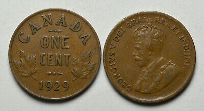 1929 CANADA 1 cent King George V Penny