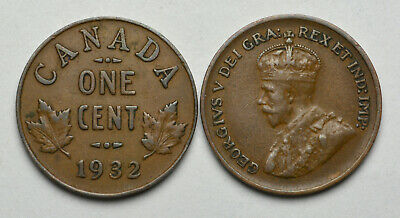 1932 CANADA 1 cent King George V Penny