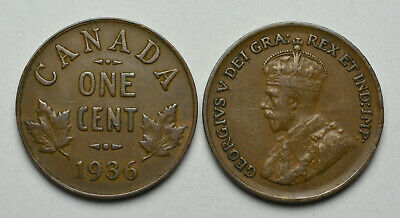 1936 CANADA 1 cent King George V Penny