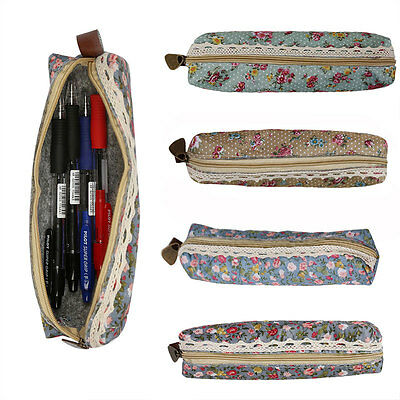 Floral Small Rose Girls Vintage  Pencil Case Makeup Cosmetic Pouch Bag Zipper