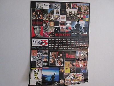 Greatest 3 Japan Promo Calender Poster 1997 Beatles Queen Freddie Rolling Stones