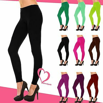 Women Full Length Solid Seamless Leggings Footless Fitted Stretch Slim Fit
