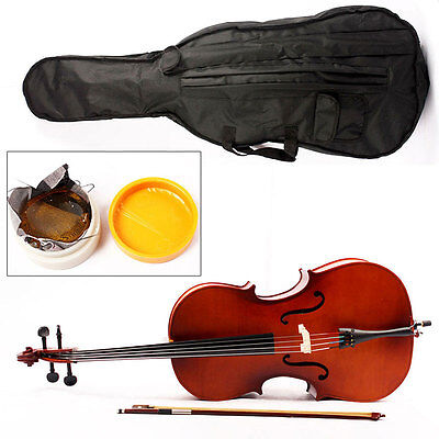 Student 1/8 Size Maple Wood Classic Brown Cello Set With Bow + Rosin + Bag