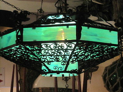 Antique Stained Glass And Wrought Iron Chandelier, Spanish Gothic Style