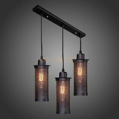 Retro Industrial Metal Cylinder Ceiling Light Lamp Shade E27 Wired Pendant
