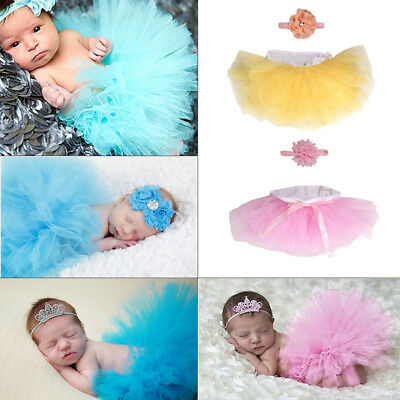 Newborn Baby Girl Headband Mesh Tutu Skirt Costume Photo Photography Prop Outfit