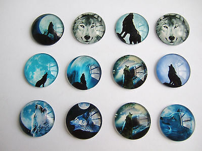 10 Assorted Colours 20mm Round Wolf Totem Glass Cameo Cabochons Jewellery Making