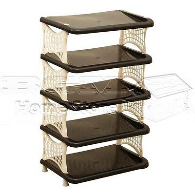 New 5 Layer Durable Plastic Shoe Shoes Rack Stand Organiser Gift  Black & White