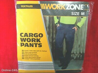 NEW Workzone 10 Pocket Cargo Cotton Drill Work Pants UPF50+ Protection Navy 87CM