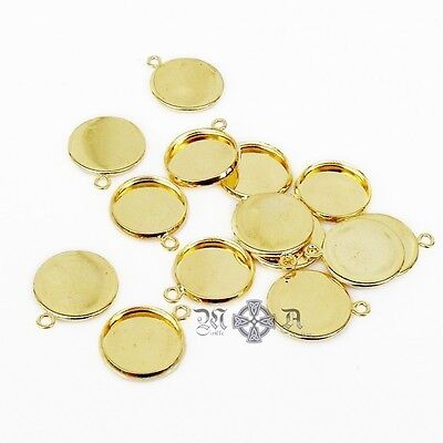 20 x Gold Tone Plated Brass 12mm Round Cabochon Pendant Settings