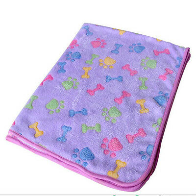 Pet Mat Small Large Paw Print Cat Dog Puppy Fleece Soft Blanket Bed Cushion F us
