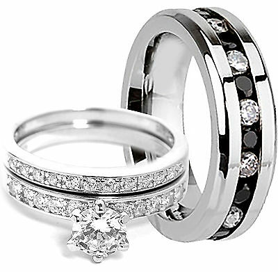 Men's Eternity Band & Women's SOLID STERLING SILVER Engagement Wedding Rings Set