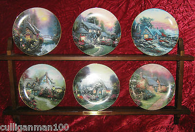 "1 - Lot of 6 Thomas Kinkade's "" Enchanted Cottages plates"" (2016-190)"