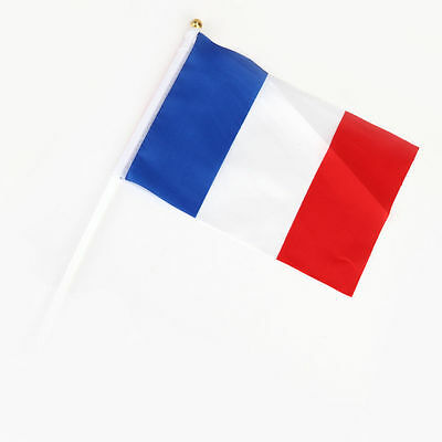 1 x  France Flag - French National Flag Hand Waving Flag with Pole - Free UK P&P