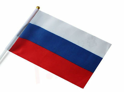 1 x  Russian Federation Hand Waving Flag National Flag of Russia on pole