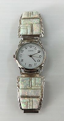 Native American Sterling Silver l Navajo White Opal Inlay Men's Watch