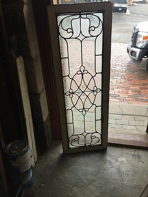 "Sg 800 Textured And Beveled Glass Transom Window 18"" X 52"" Antique"