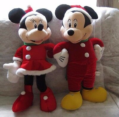 """Large 29"""" Stand Up, Plush Mickey & Minnie Mouse...Christmas Decor by Gemmy Ind."""