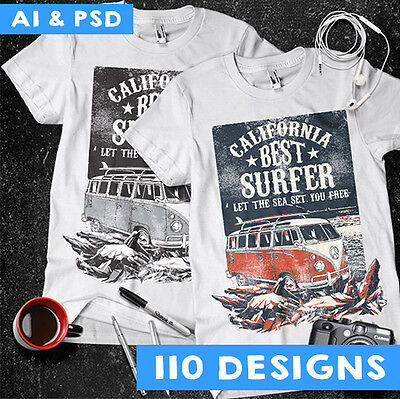 110 Vectors Vol 1 Clipart-T-Shirt Screen Printing Designs -Ai & Psd