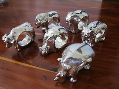 Afrisilver African Animal Set 6 Stamped Sterling Napkin Rings Xlnt Condition