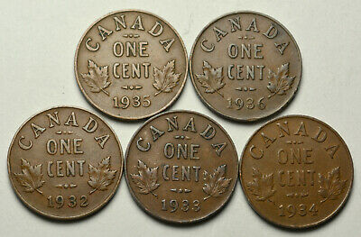 1932, 1933, 1934, 1935, 1936 - CANADA 1 cent King George V Set of 5 Pennies