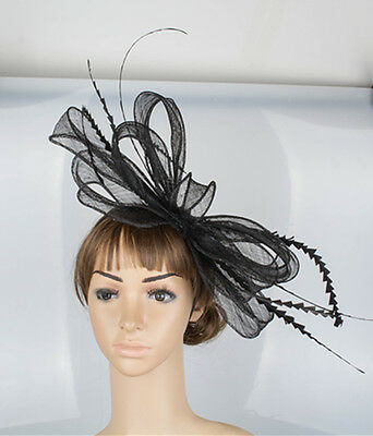 Large Stunning Black Sinamay Fascinator With Feathers & Loops,  Spring Racing