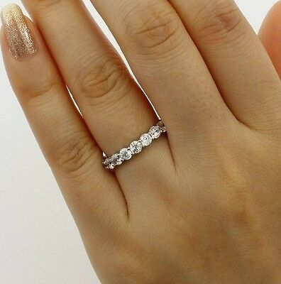 2.00 Ct 14K White Gold Round Eternity Endless Wedding Anniversary Ring Band