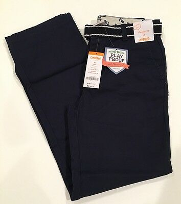 NWT Gymboree Boys Navy Blue Flat Front Uniform Pants Size 10 with Striped Belt
