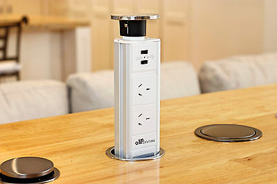 V7MSSW Stainless Steel Kitchen Pop Pull Up Power Point Outlet Socket Bench Top